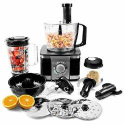 ElectriQ 10-in-1 1100W Multifunctional Food Processor in Stainless Steel and Bla