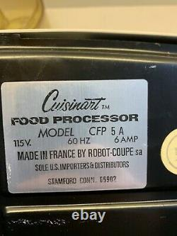 VIntage Robot Coupe Cuisinart FOOD PROCESSOR Model CFP 5A FRANCE